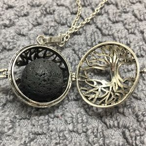 Essential oil infused lava rock tree necklace